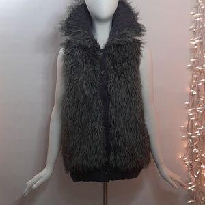 Sz Medium Gray Wool Alpaca Blend Knit Button Vest